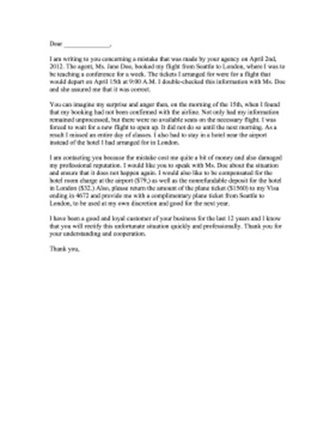 Complaint Letter Unprofessional Behavior Travel Agency Complaint Letter