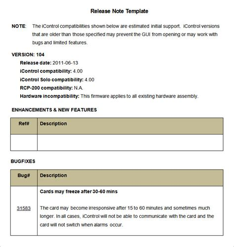 software release notes document template release notes template 9 free word pdf documents