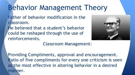 Behaviour Modification Classroom Management by Classroom Management Theories 1