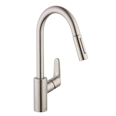 hansgrohe kitchen faucets hansgrohe focus single handle pull sprayer kitchen faucet in steel optik 04505800 the