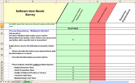 business requirements questionnaire template erp