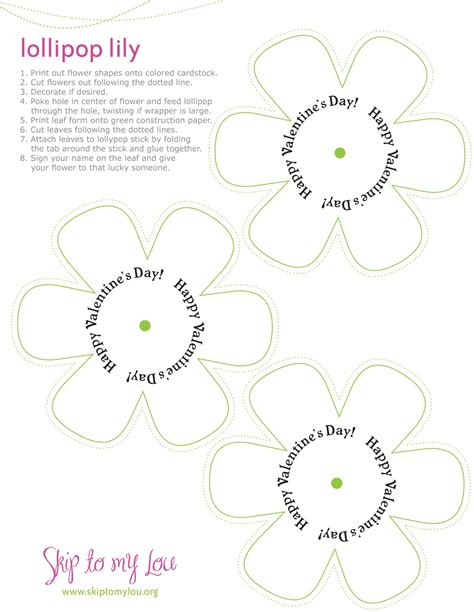 valentine s day lollipop flowers with free printables a 9 best images of lollipop flower template printable