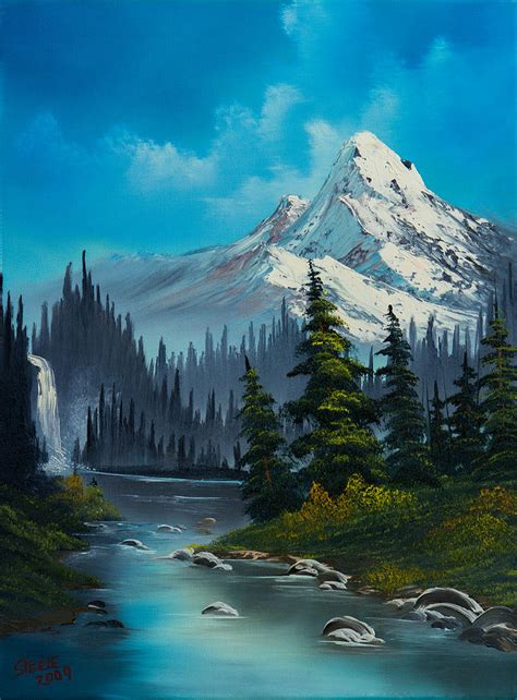 bob ross painting water reflections cascading falls paintings bob ross and wine painting