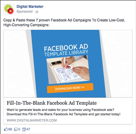 Facebook Lead Ad Exles What You Need To Know Digital Marketer Ad Template