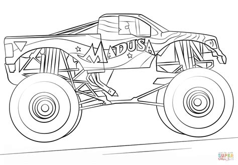 coloring pages monster jam madusa monster truck coloring page free printable