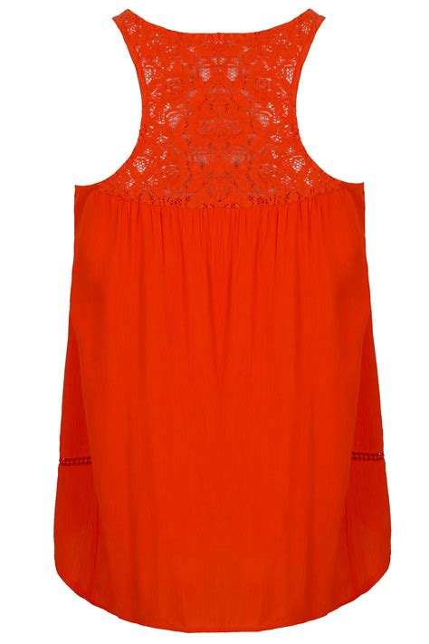 Orange Crochet Detail Sleeveless Swing Top With Racer Back