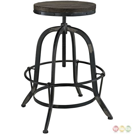 Bar Stool Iron by Set Of 4 Collect Industrial Bar Stool W Wood Seat Cast