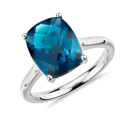 blue topaz cushion cocktail ring in 14k white gold