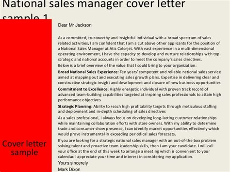 National Sales Managers by National Sales Manager Cover Letter