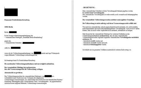 Musterbrief Widerspruch Festsetzungsbescheid Gez gez rbb vollstreckungsank 252 ndigung durch finanzamt berlin