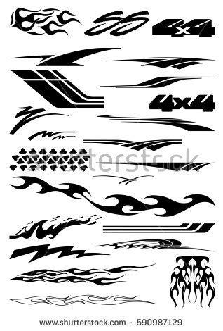 Vector Clipart For Vinyl Decal Graphics - car bike vehicle graphics vinyls decals stock vector