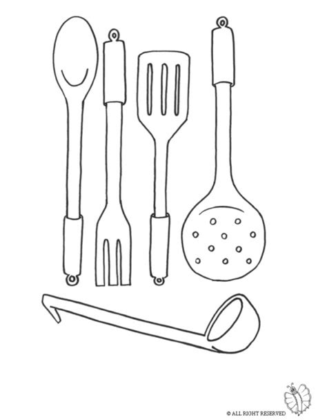 coloring pages kitchen tools print cooking utensils for coloring