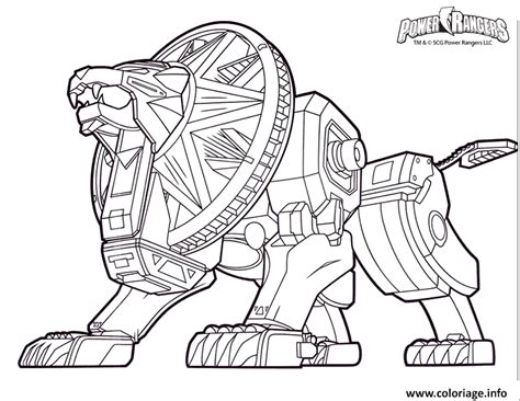lion zord coloring pages coloriage power rangers dino charge lion robot dessin