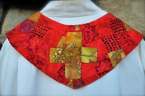 Handmade Stoles - pentecost clergy stoles in and gold batiks