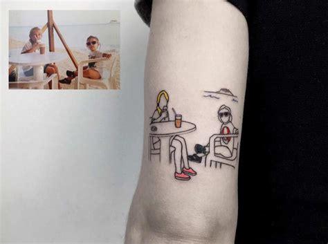 tattoo minimalistisch kindheitsfotos als minimalistische tattoos