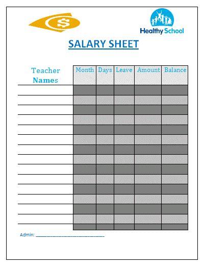 Salary Sheet Template Free Sheet Templates Pay Sheet Template