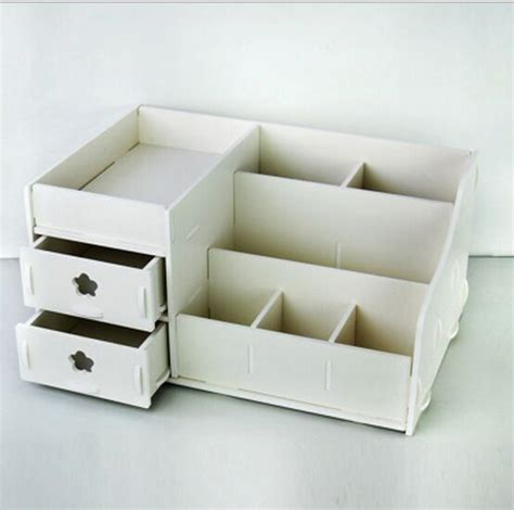 home desktop diy wooden storage box for cosmetics makeup