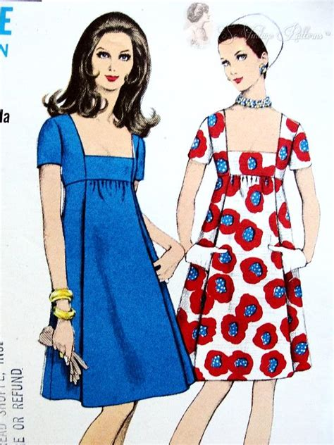 dress pattern high waist 1960s empire cocktail party dress pattern low square