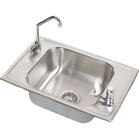 single bowl kitchen sink top mount elkay cdkrc2517c stainless steel single bowl top