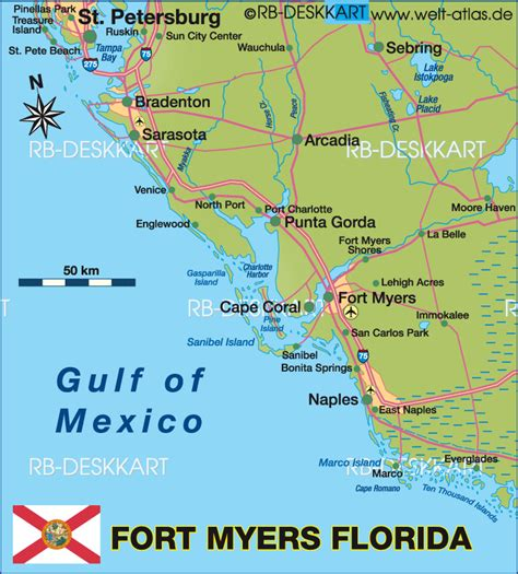 map of fort myers florida map of fort myers region region in united states of