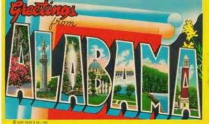 vintage large letter postcard alabama greetings