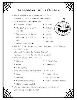 the night before christmas movie trivia the nightmare before questions only by la prof
