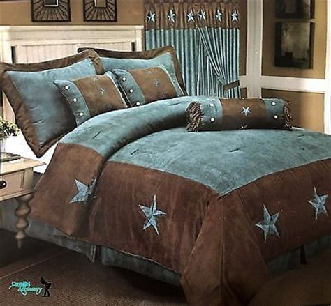 western red triple star comforter set western embroidered comforter bedspread 7 set turquoise brown bedspread