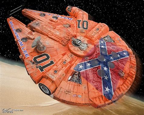 the millennium falcon amp the general lee morph together