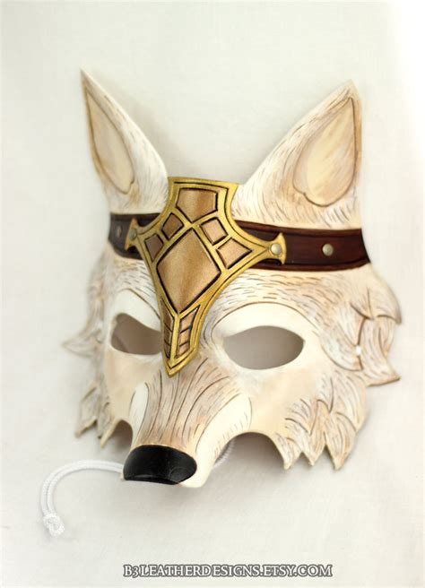 Handmade Mask - crowned barbarian wolf handmade leather mask by