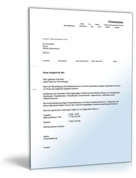 Angebot Vorlage Shk kostenvoranschlag heizung gas und sanit 228 rarbeiten