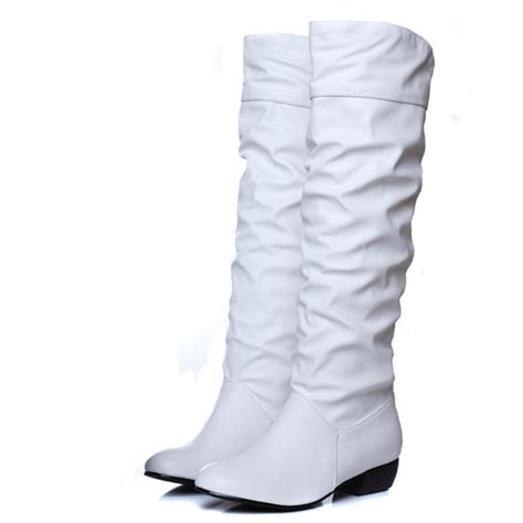 white thigh high boots low heel asumer fashion sale new arrive boots black white