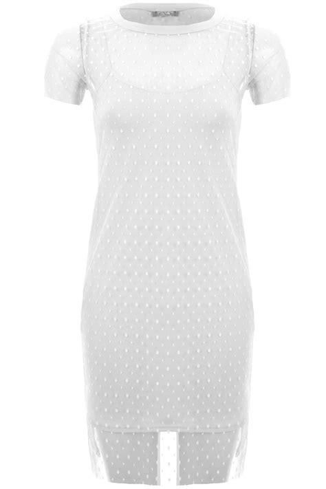 Sleeve Mesh Overlay T Shirt womens sleeve polka dot spotted mesh overlay cami