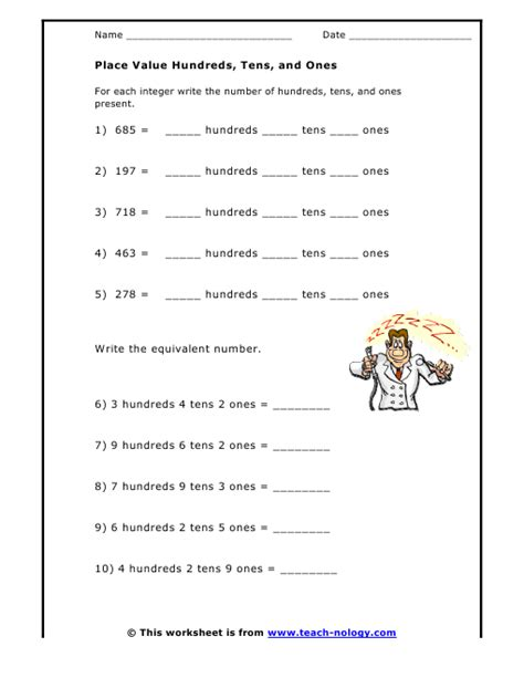 Hundreds Tens And Ones Worksheets