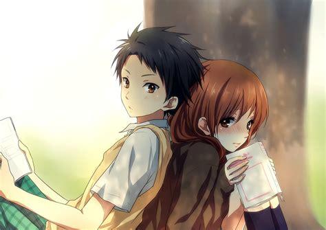 anime couple under a tree anime couple school girl guy uniform tree love wallpaper