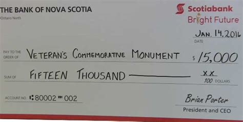 Gift Letter Scotiabank a big gift to the veterans commemorative monument