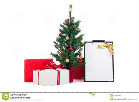 Gift Box Tree - decorated tree gift boxes and gift list on