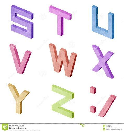 Papercraft Alphabet - alphabet number recycled paper craft royalty free stock