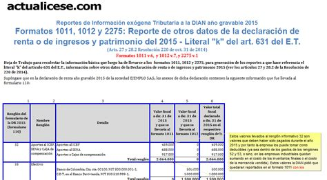 ejemplo formato de la presentacion de la declaracion anual 2015 formato para la presentacion de la declaracion de renta