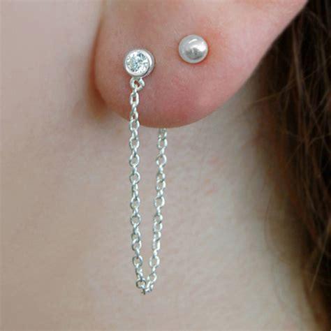 Chain Earring 18k gold vermeil white topaz chain drop earrings by embers