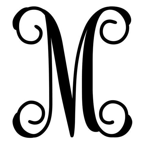 Initial M vine monogram letter m initial letters