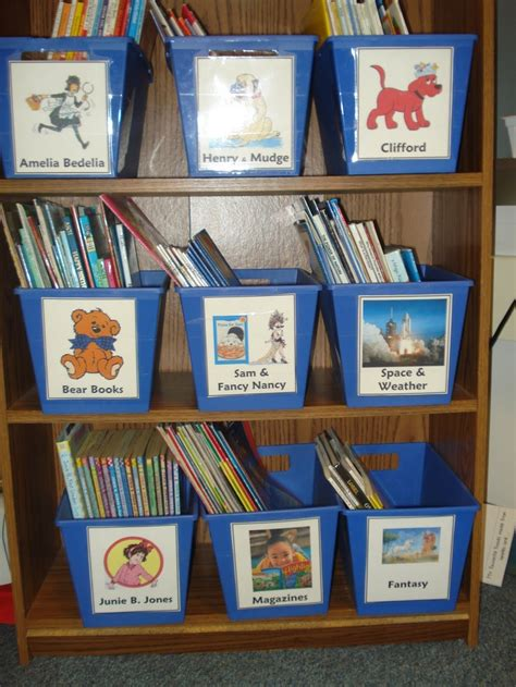 bookshelf with bins arranged with pictures on the
