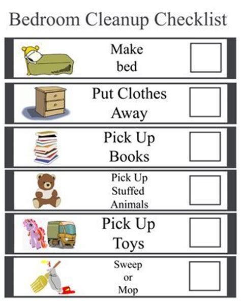 daily bedroom cleaning checklist kids bedroom cleanup checklist organize pinterest