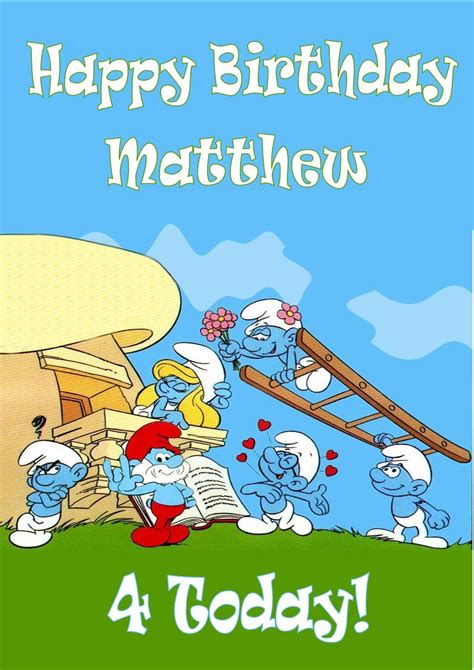 personalised smurfs birthday card design 1