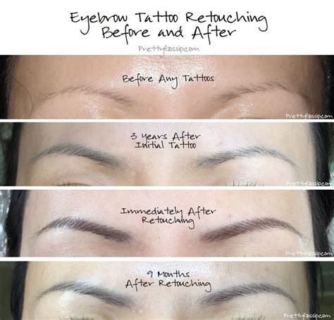 Tattoo Retouch Care | eyebrow tattoo retouching before and after pics by