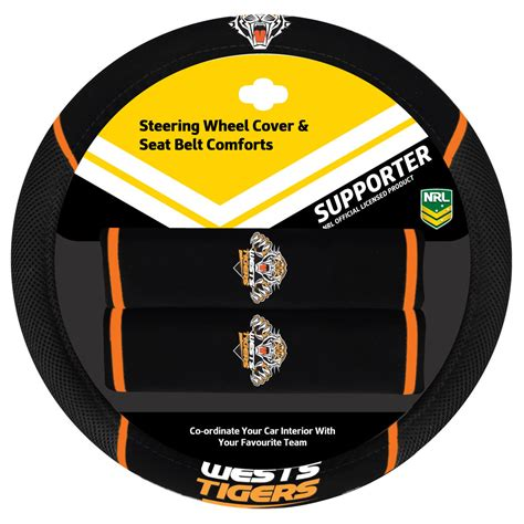 queensland cowboys box seats set of 3 wests tigers nrl car seat covers steering wheel