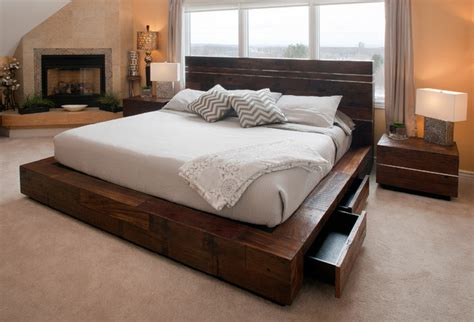 transitional bed reclaimed wood platform bed with drawers transitional