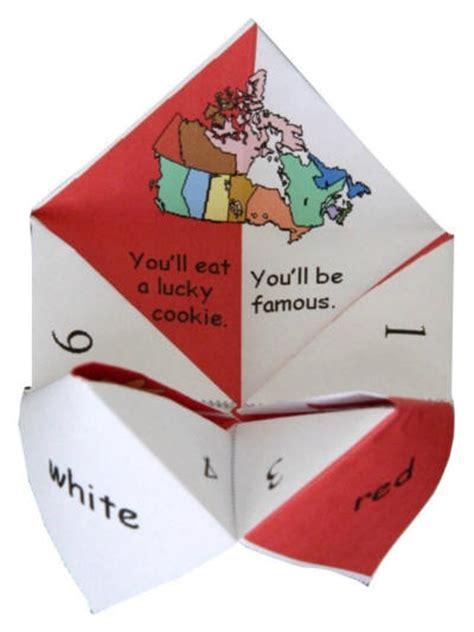 Origami Fortune Teller Fortunes - canada day origami fortune teller