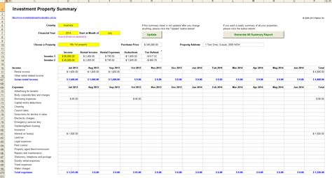 Record Property Rental Investment Property Record Keeping Spreadsheet