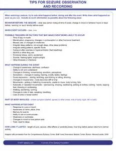 Seizure Chart Template by Seizure Information Forms Epilepsy Foundation