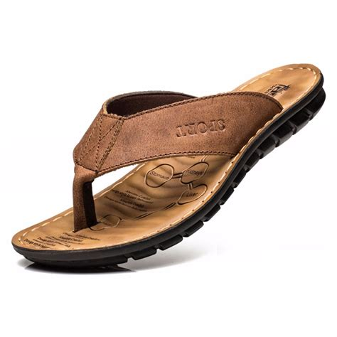 mens leather soled slippers 2017 cow leather slippers fashion flip flops